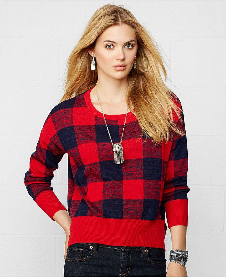 Denim & Supply Ralph Lauren Long Sleeve Buffalo Check Sweater ...