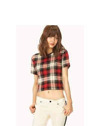 Red Plaid Crew-neck T-shirt