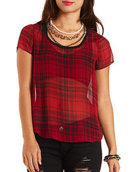 Plaid chiffon high low top medium 156452