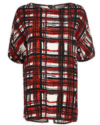 Red check oversized split back t shirt medium 156454