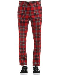 Skinny Wool Plaid Pants