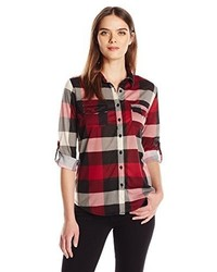 French laundry jersey plaid button up soft shirt medium 3639402