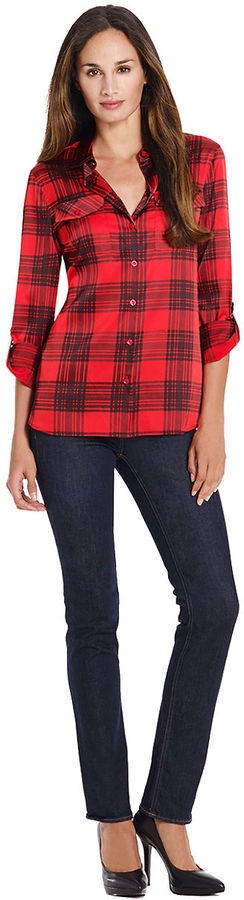 Red plaid dress shirt jones new york signature jones new for Where to buy button down shirts