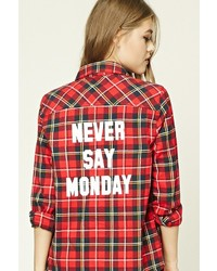 Forever 21 Never Say Monday Plaid Shirt