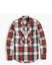 Petite festive plaid button up shirt medium 3639412