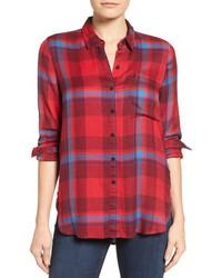 Lucky Brand Plaid Side Button Shirt