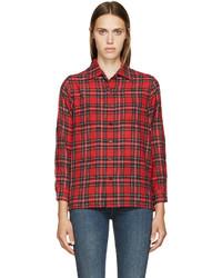 Saint Laurent Red Plaid Wool Shirt