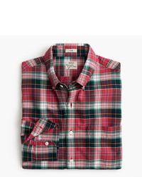 J.Crew Slim American Pima Cotton Oxford Shirt In Red Plaid