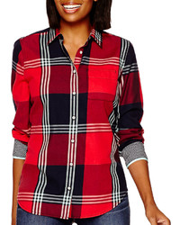 jcpenney Stylus Stylus Long Sleeve Brushed Twill Plaid Shirt