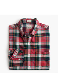 J.Crew Tall American Pima Cotton Oxford Shirt In Red Plaid