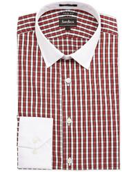 Neiman Marcus Trim Fit Plaid Dress Shirt Redwhite