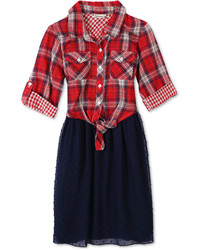 Speechless Plaid Fit Flare Dress Big Girls