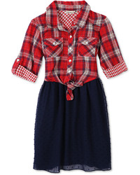 Speechless Plaid Fit Flare Dress Toddler Little Girls