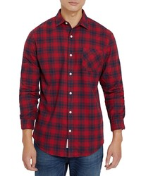 Frank and Oak Classic Fit Plaid Flannel Button Up Shirt