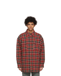 Acne Studios Red And Grey Quilted Over Shirt