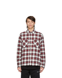 Off-White Red And White Flannel Check Shirt