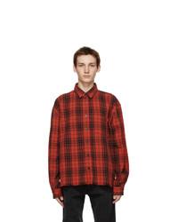 John Elliott Red Check Hemi Oversized Shirt
