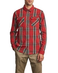 RVCA Reverberation Plaid Button Up Flannel Shirt