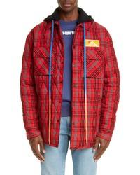 Red Plaid Flannel Shirt Jacket