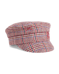 Ruslan Baginskiy Embroidered Prince Of Wales Checked Wool Cap