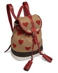 Burberry Kids Leather Trim Heart Check Backpack