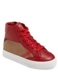 Burberry Babys Toddlers Check High Top Leather Sneakers