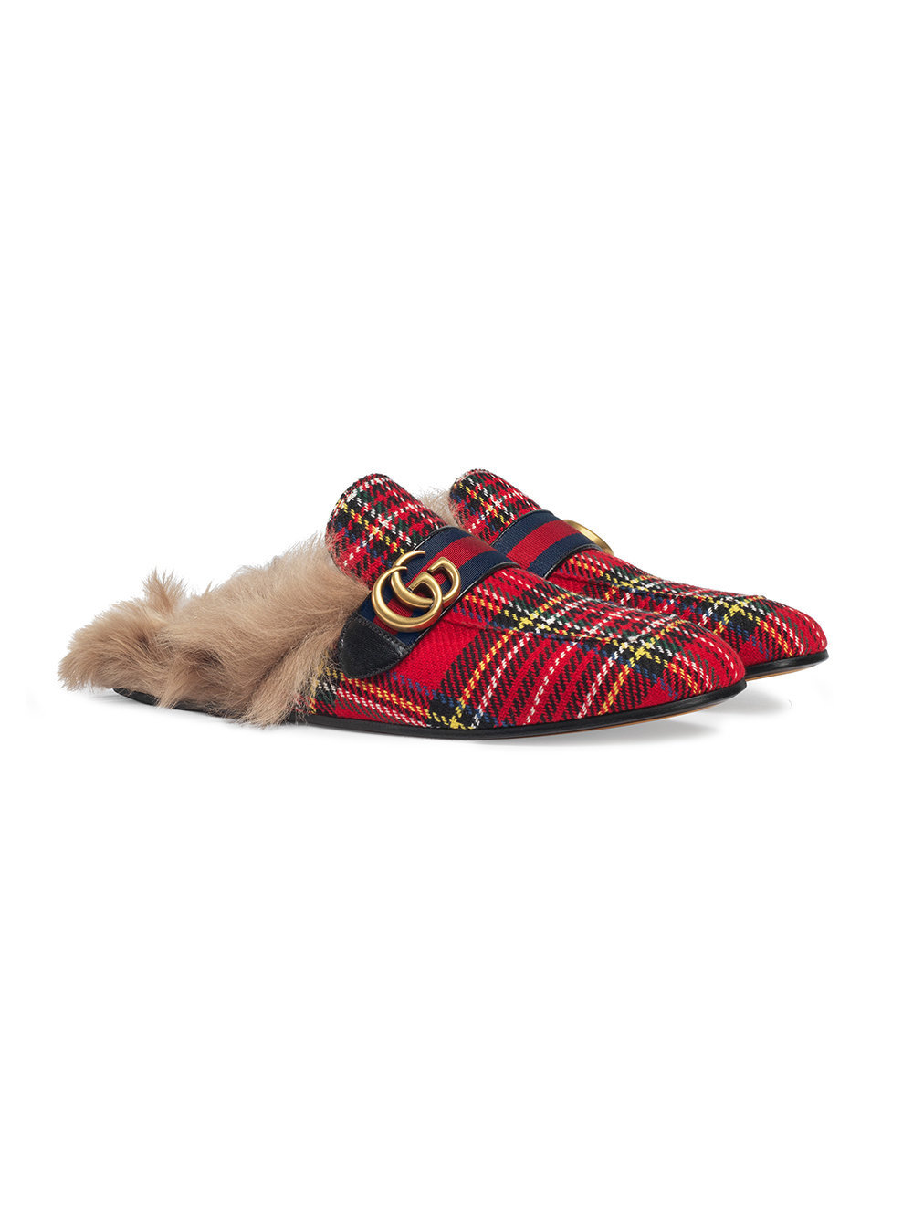 Gucci Princetown Tartan Slippers With