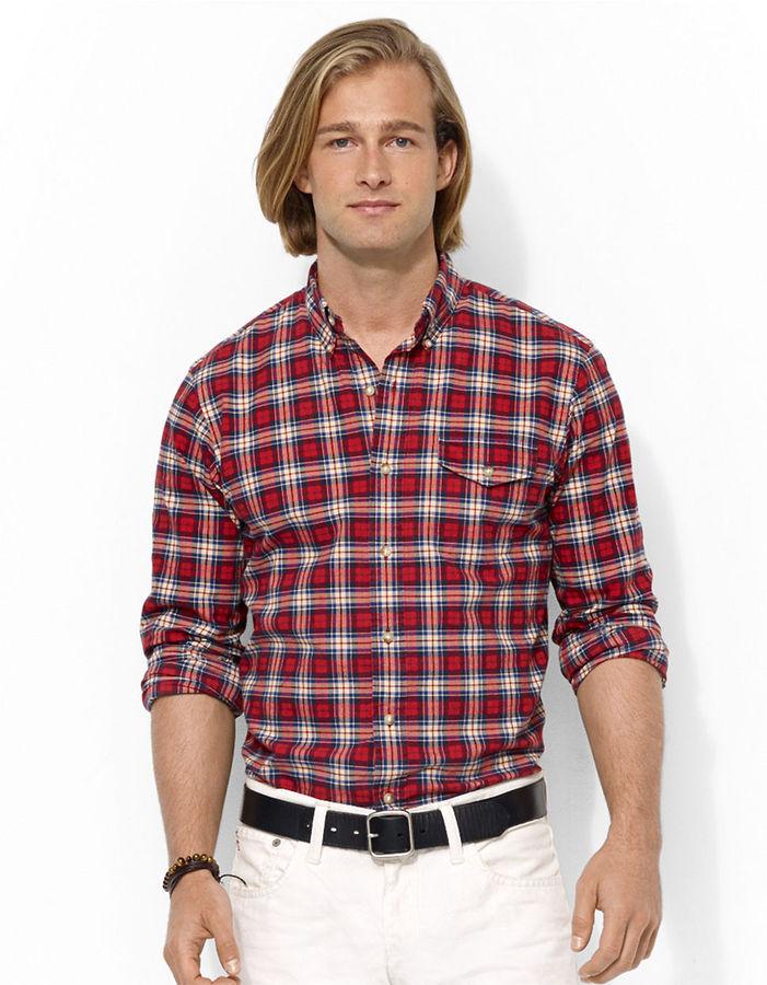 4271a26b $89, Polo Ralph Lauren Classic Fit Plaid Brushed Oxford Shirt