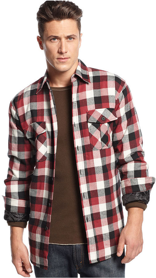 Club Room Shirt Flannel Plaid Insulated Shirt Jacket | Where to ...