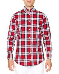 DSQUARED2 Multi Plaid Long Sleeve Shirt Red