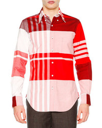 Thom Browne Oversized Plaid Long Sleeve Oxford Shirt Red
