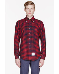 Thom Browne Red Navy Plaid Shirt