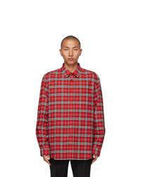 Burberry Red Stretch Poplin Check Logo Applique Shirt