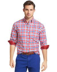 Izod Shirt Ski Club Long Sleeve Real Red Brilliant Plaid Peach Twill Shirt