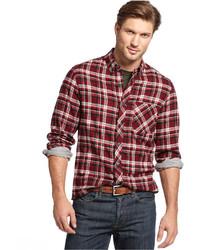 Club Room Shirt Slim Fit Long Sleeve Brushed Cotton Plaid Shirt