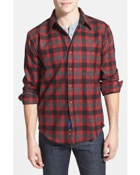 Trail fitted plaid wool flannel shirt medium 2832