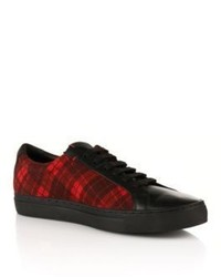 Hugo boss fucheck cotton wool plaid sneakers 10 red medium 346266
