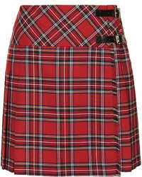 Red Plaid Mini Skirt