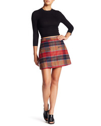 Harlowe graham plaid two zip wool blend mini skirt medium 1102330