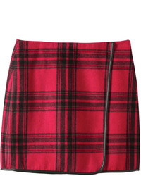 Plaid faux wrap skirt red medium 1102336
