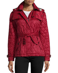 Finsbridge check lined short quilted coat w removable hood medium 950274