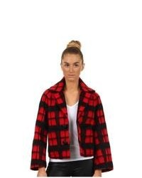 Red Plaid Pea Coat