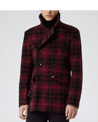 Reiss 1971 Redwood Check Pea Coat