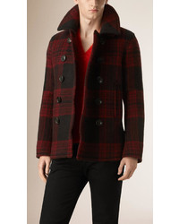 Burberry Brit Check Wool Mohair Pea Coat