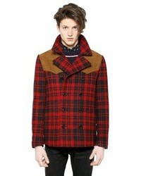 Saint Laurent Tartan Double Breasted Wool Peacoat