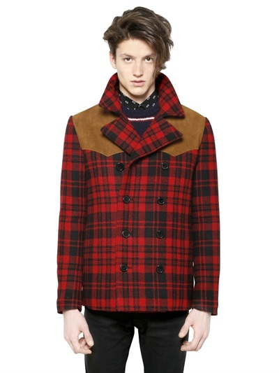 buy Wool Saint Double Laurent to Where Breasted Tartan Peacoat wIv8q7