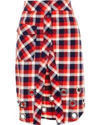 Filles a papa Checked Skirt With Washer Embellisht
