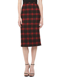 Michael Kors Michl Kors Brushed Check Pencil Skirt Crimson