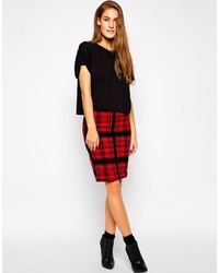 Vero Moda Pencil Skirt In Red Check