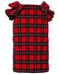 Simone Rocha Ruffled Tartan Plaid Skirt Red